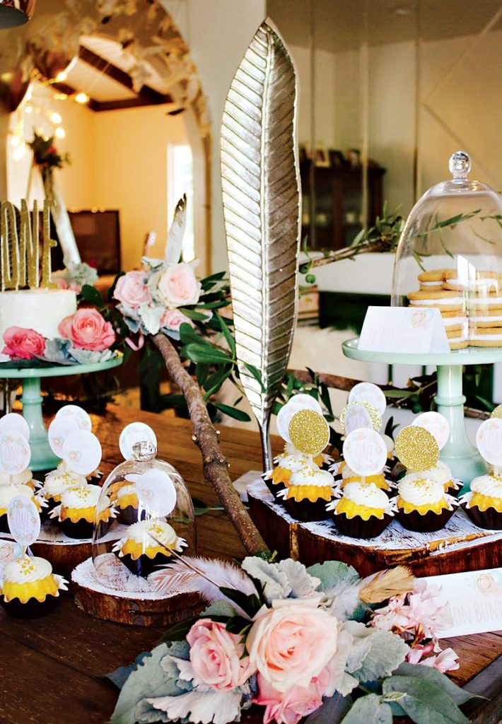 pink and gold boho chic dessert table