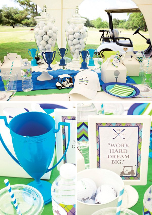 golf birthday party table centerpieces