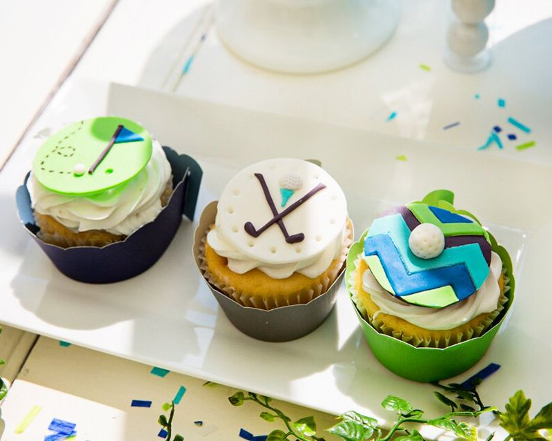 golf party fondant cupcake toppers