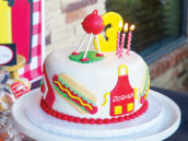 kids bbq birthday cake