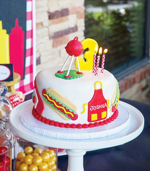 kids bbq birthday cake