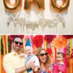large gold mylar balloons that say UNO