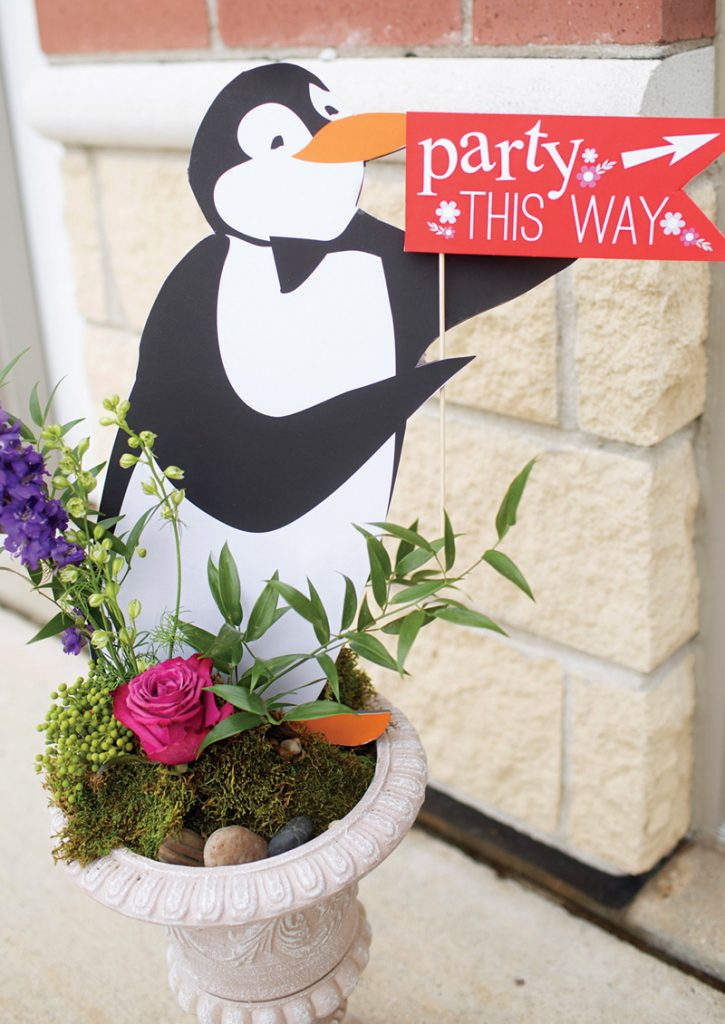 mary poppins penguin party sign cutouts