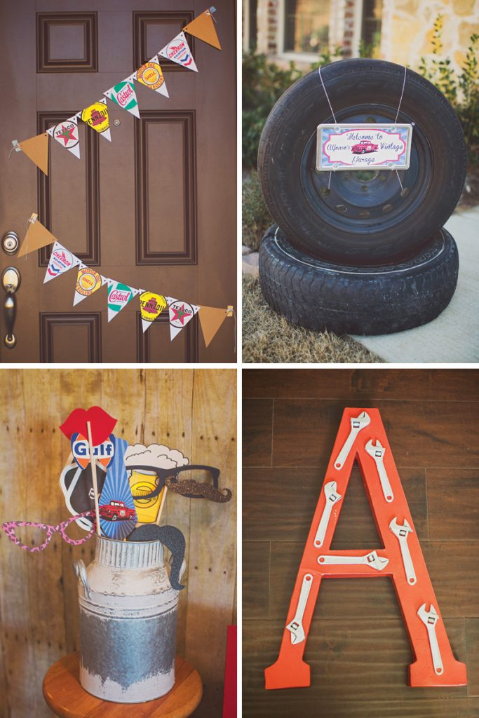 vintage mechanic adult birthday party decor