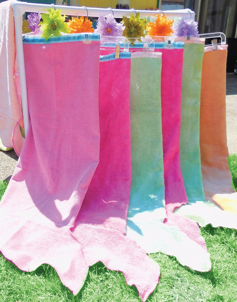 mermaid towel tail birthday pool party favors