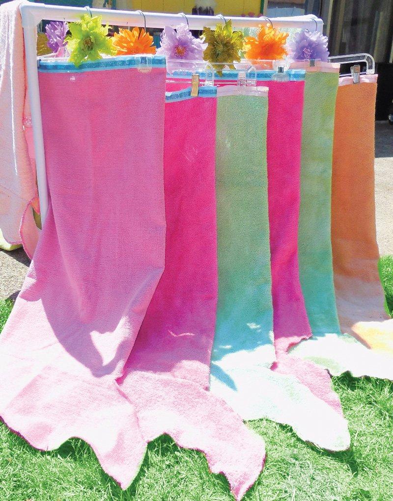mermaid towel tail birthday pool party favors