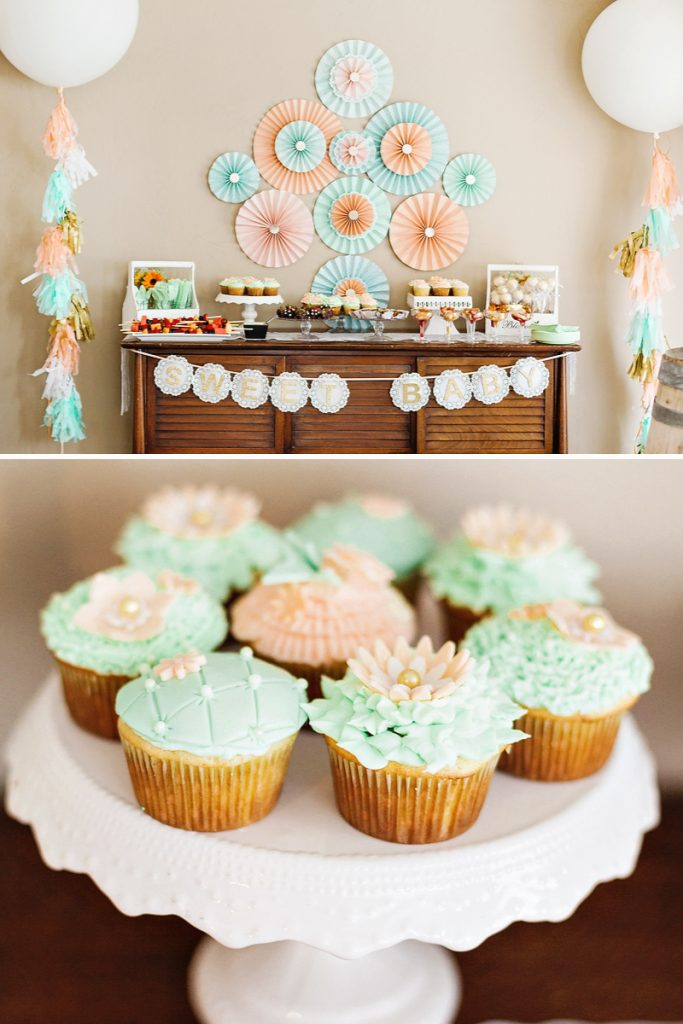 mint peach gold blooming baby shower hostess with the m