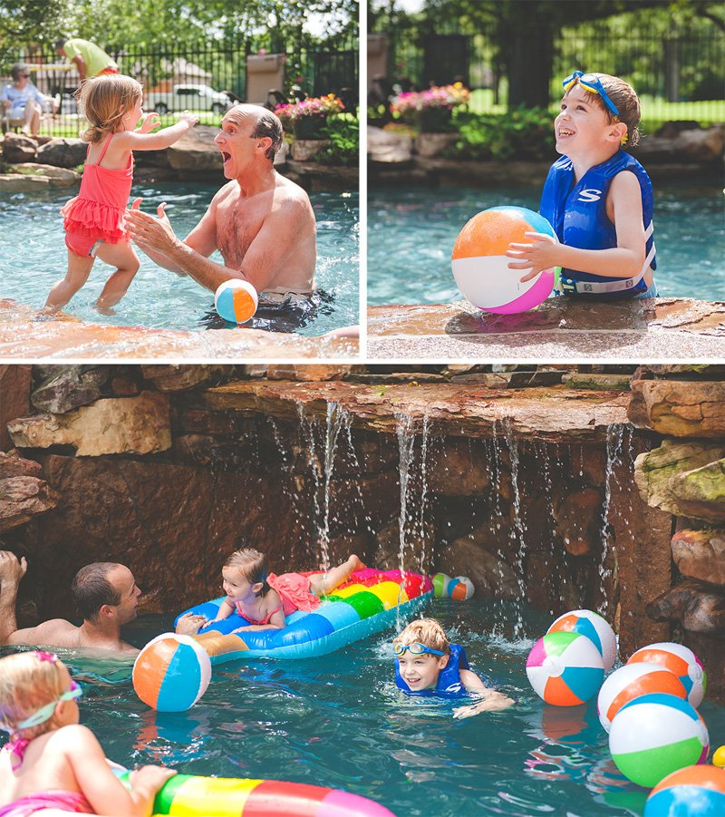 pool party rainbow beach balls