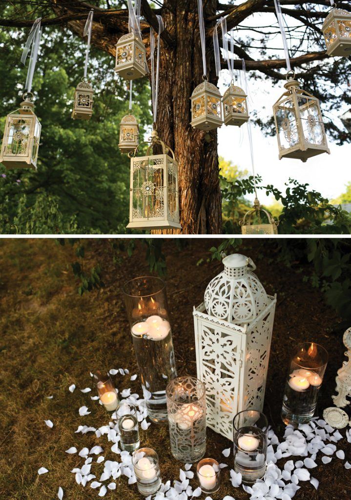 outdoor party hanging lanterns