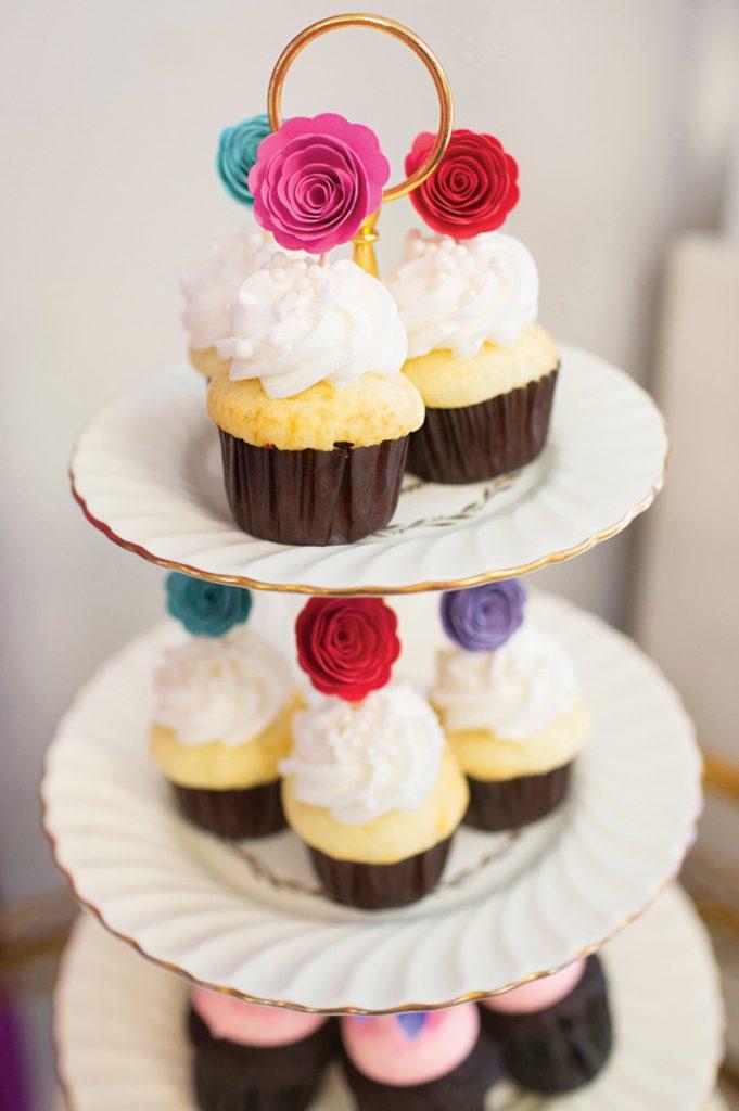 paper rose topped cupcake