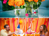 pink-orange-flower-centerpieces-and-high-chairs