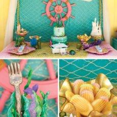 the little mermaid themed dessert table