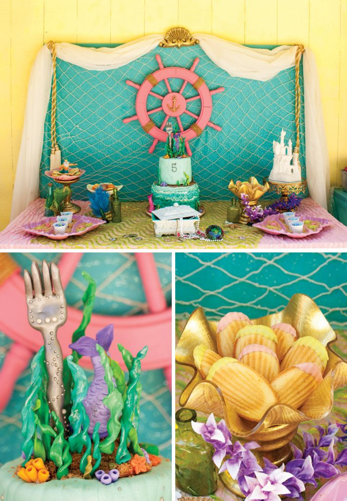 the little mermaid themed dessert table