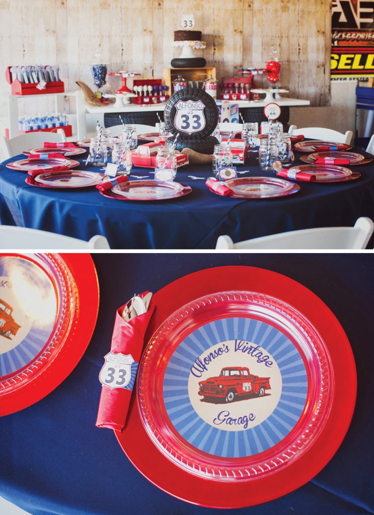 vintage garage birthday party tablescape