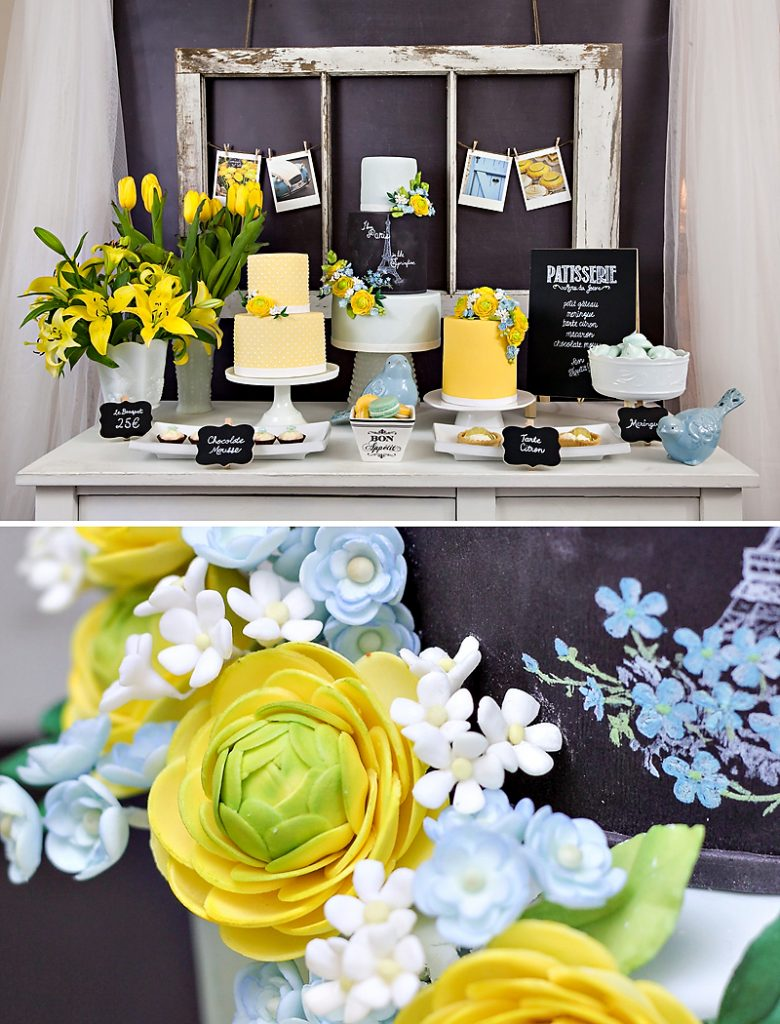 Vintage Paris Dessert Table - Chalkboard, Yellow, Blue