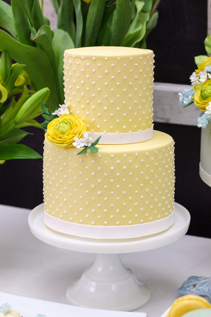 Yellow and White Tier Cake