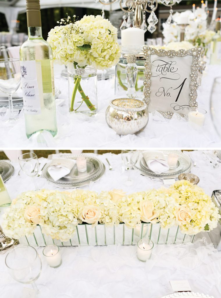 all white dinner party centerpiece