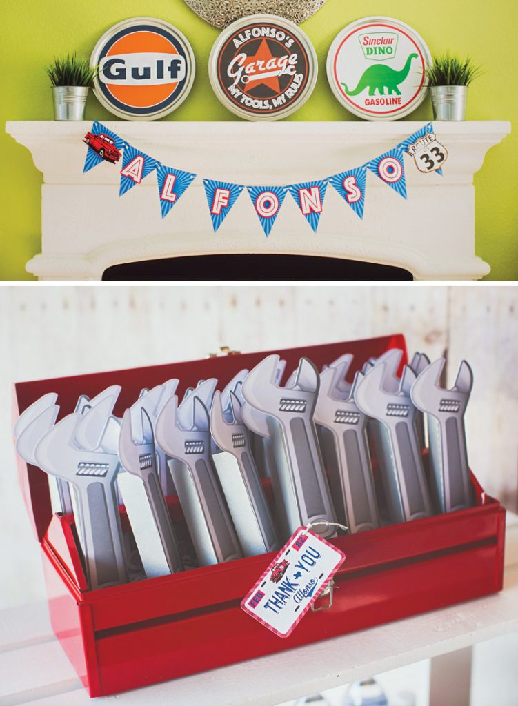 paper wrench birthday party favors