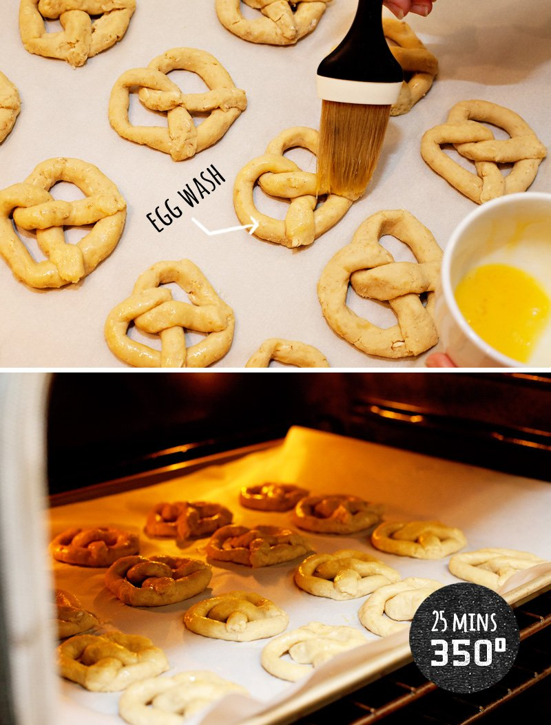 pretzel dog treats baking