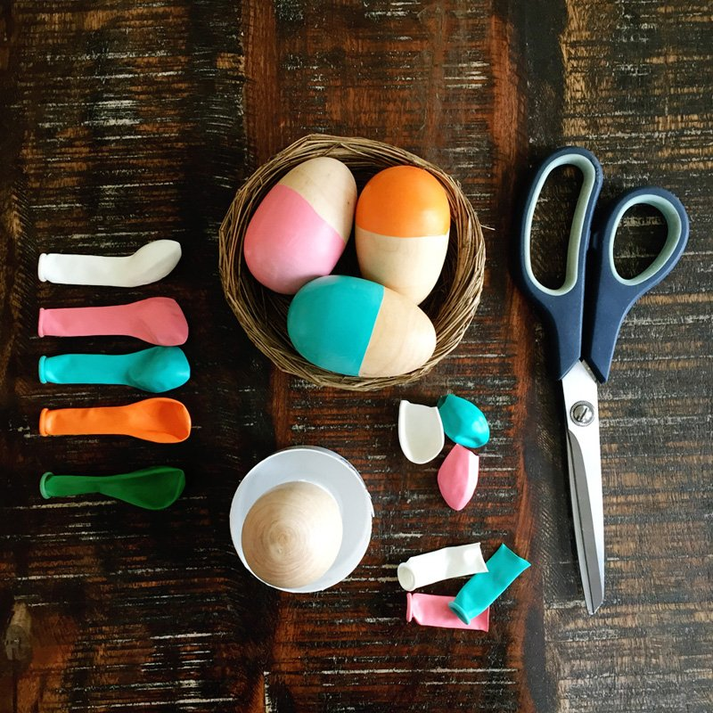 DIY Color Blocked Wooden Eggs