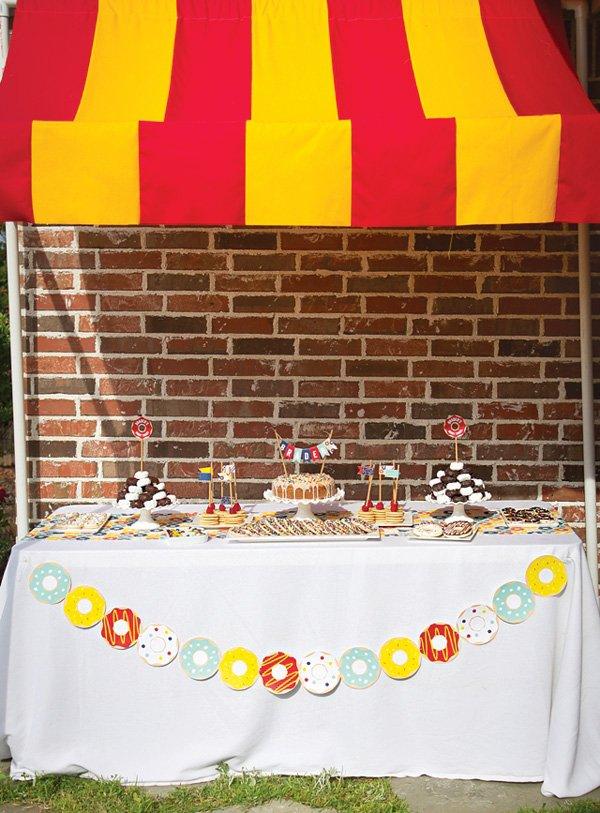vintage donut themed dessert table