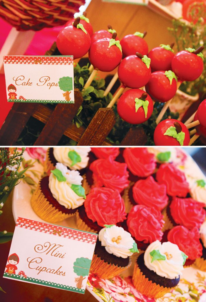 apple cake pops and rose cupcakes