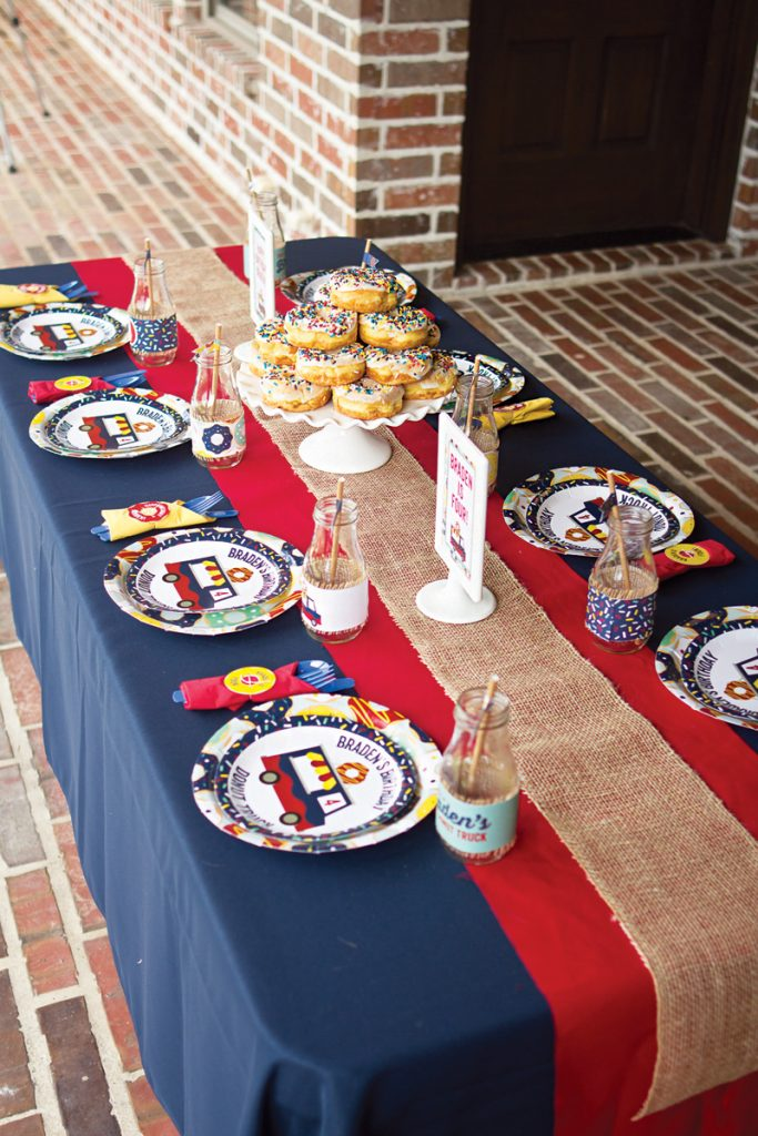 boy's donut themed birthday party tablescape