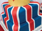 british flag birthday cake with crown topper