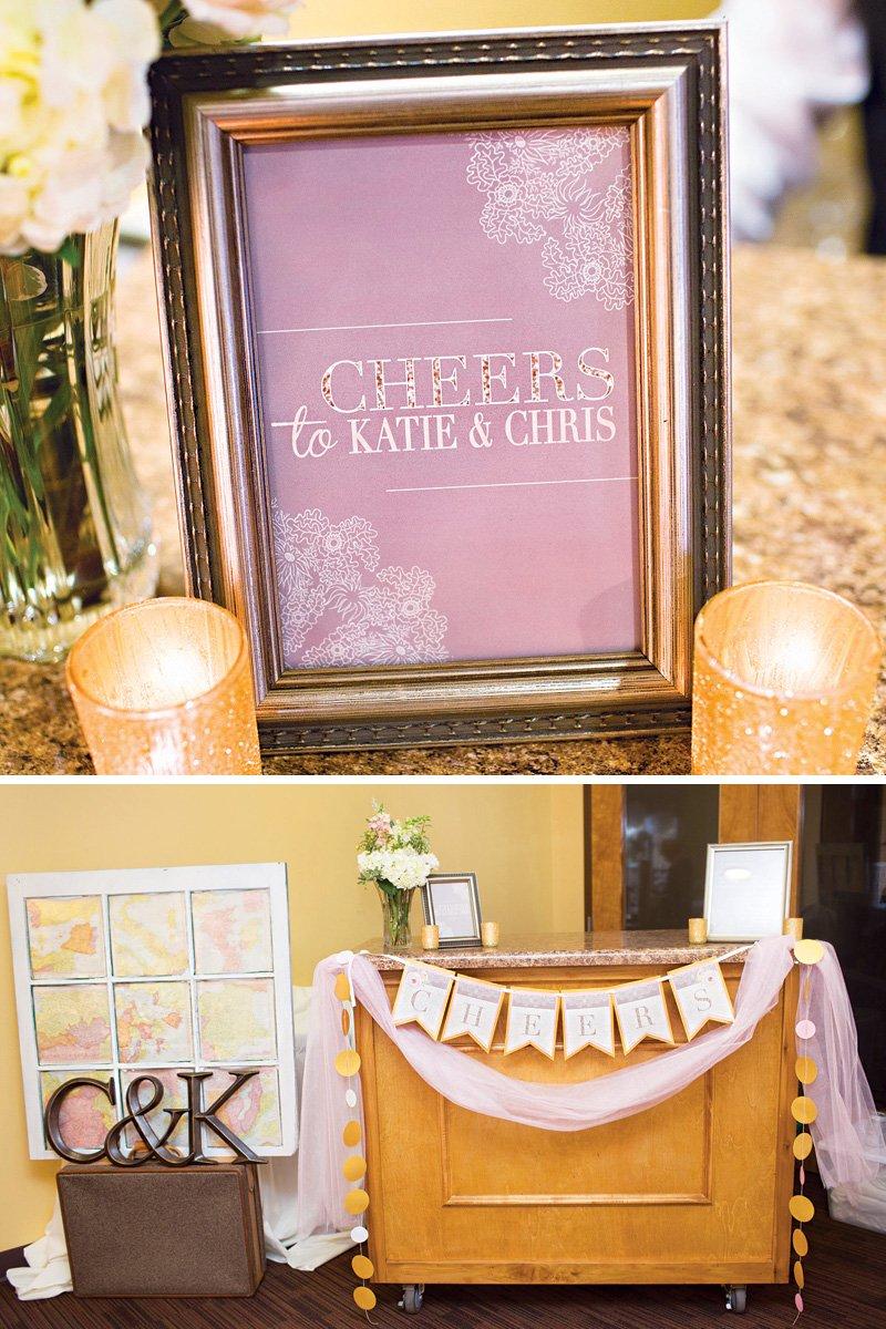 """cheers"" wedding bar sign and banenr"
