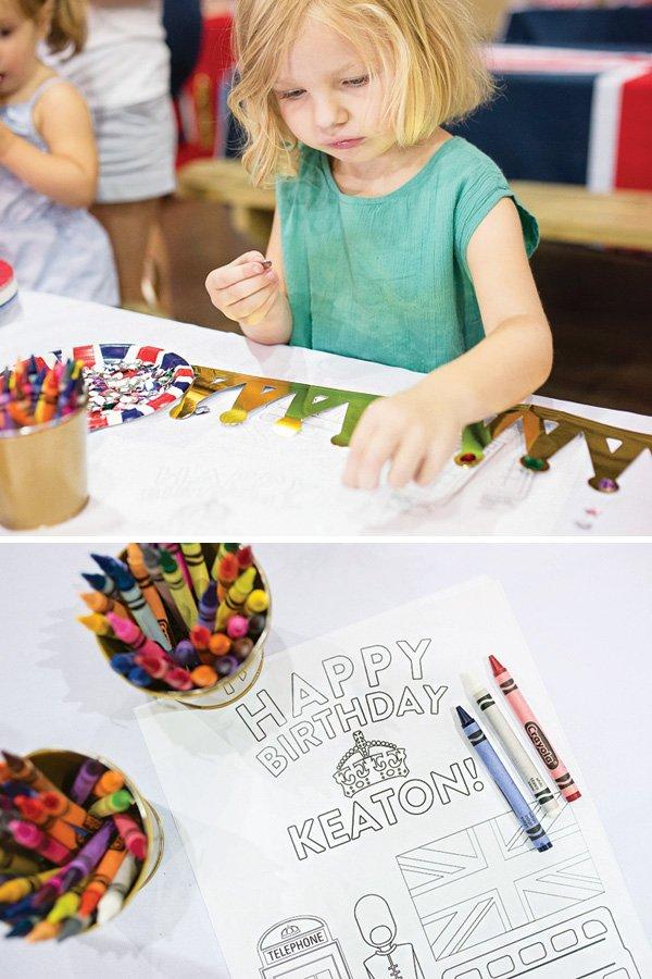 custom birthday party activity sheet