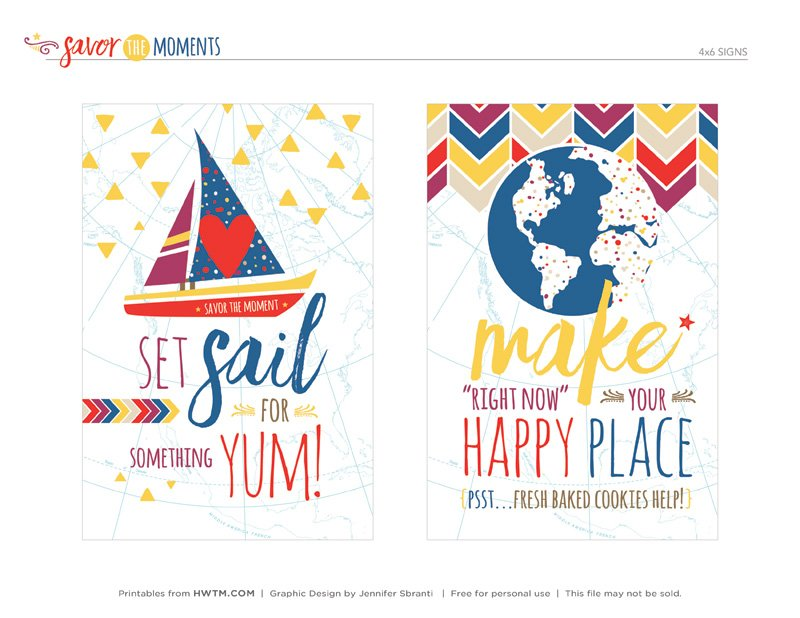Cookie Craft Party Printables - 4x6 Signs - Sailboat and Globe