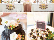 gold and pink wedding desserts table