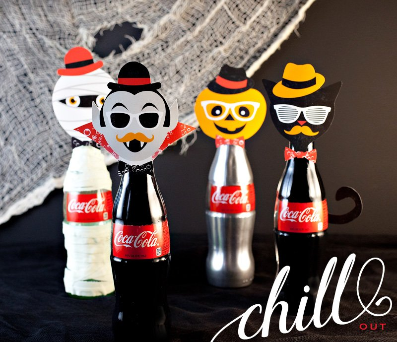Halloween Coke Bottle Craft - Dracula, Jack-o-Lantern, Mummy, and Black Cat