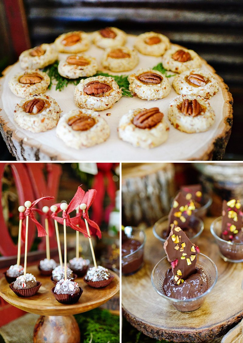 rustic christmas dessert table