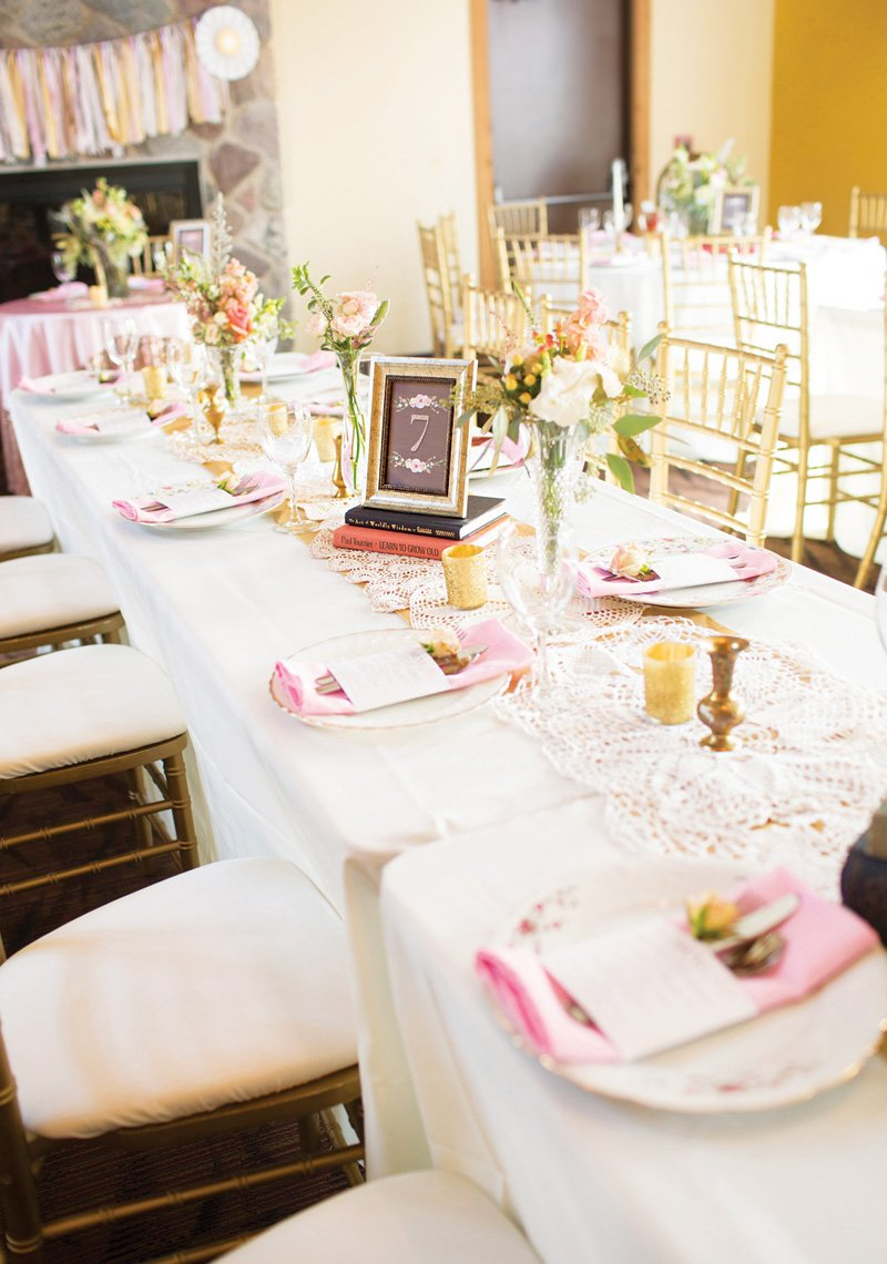 light pink wedding place settings