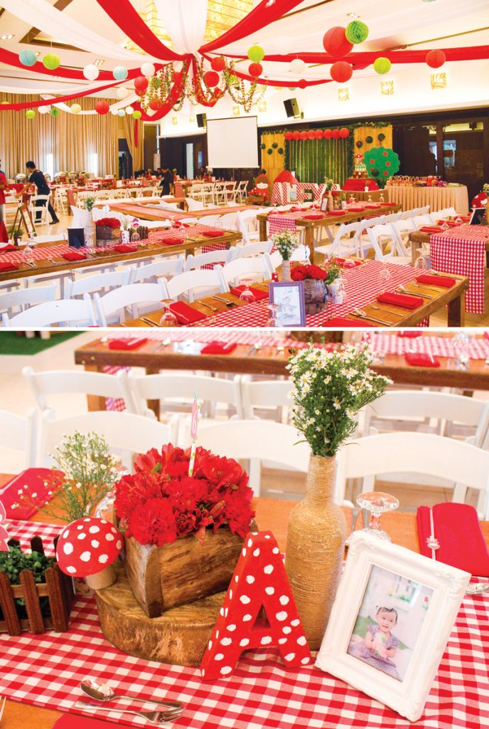 little red riding hood red gingham tables