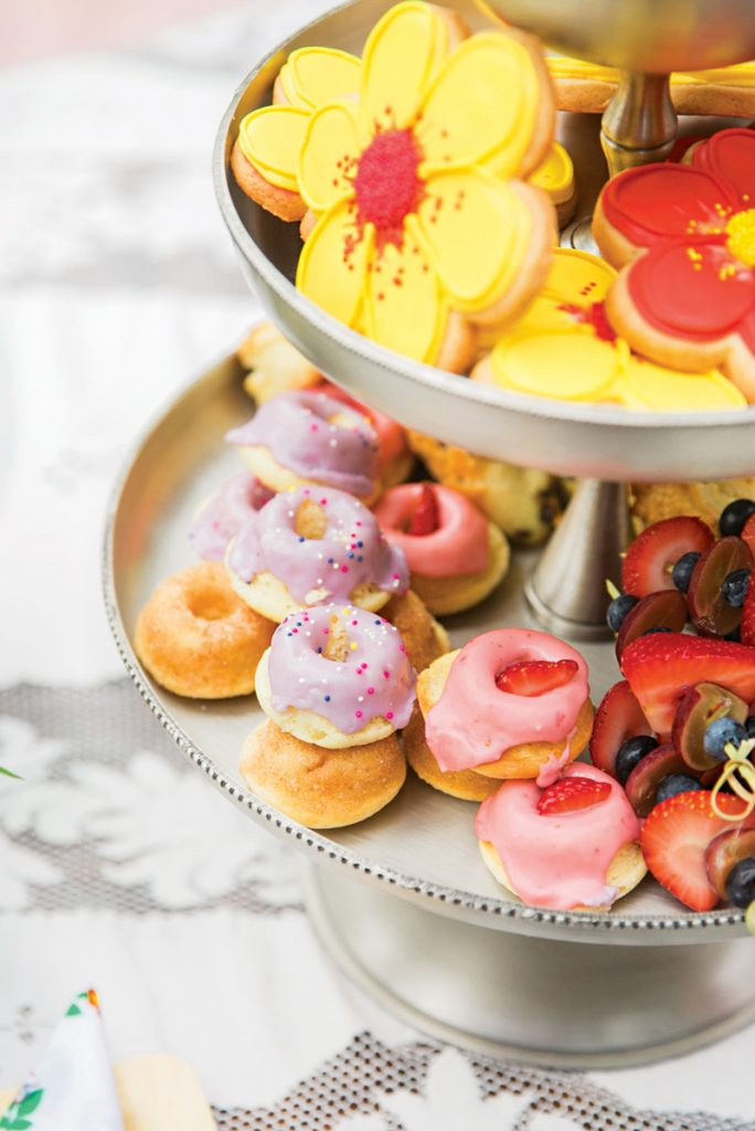 mini sprinkled donuts and flower cookies