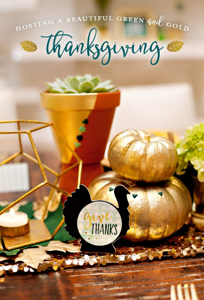 Green and Gold Thanksgiving Table