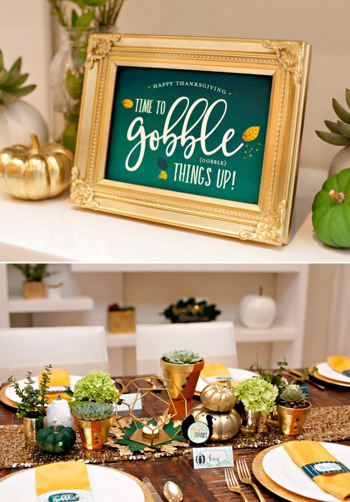 Glam and Modern Thanksgiving Table Centerpiece + Printables