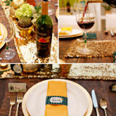 Glam Green and Gold Thanksgiving Table