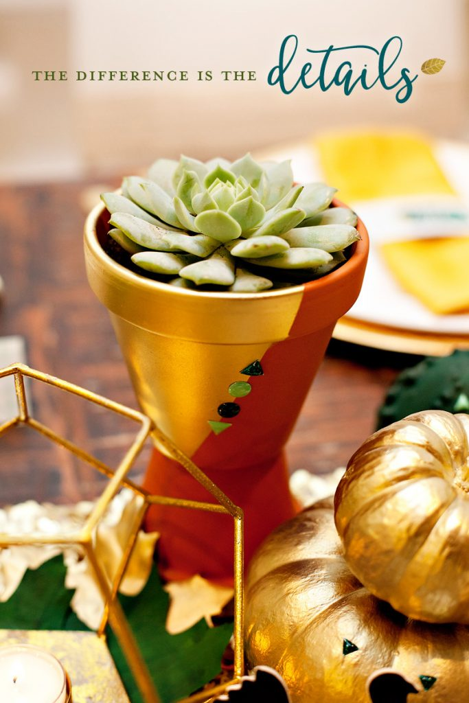 Green and Gold Succulent Centerpiece