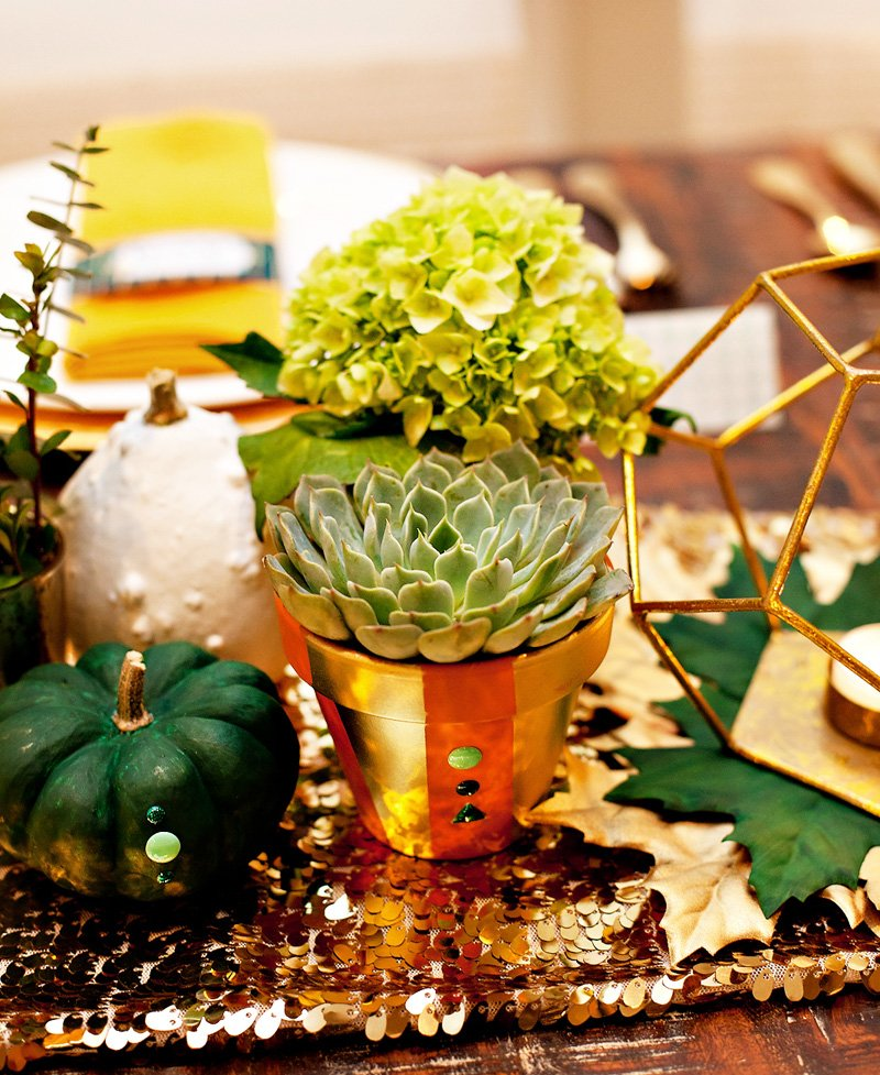Succulents in Gold Color Blocked Terra Cotta Pots