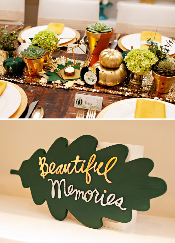 Glam DIY Thanksgiving Table Centerpiece