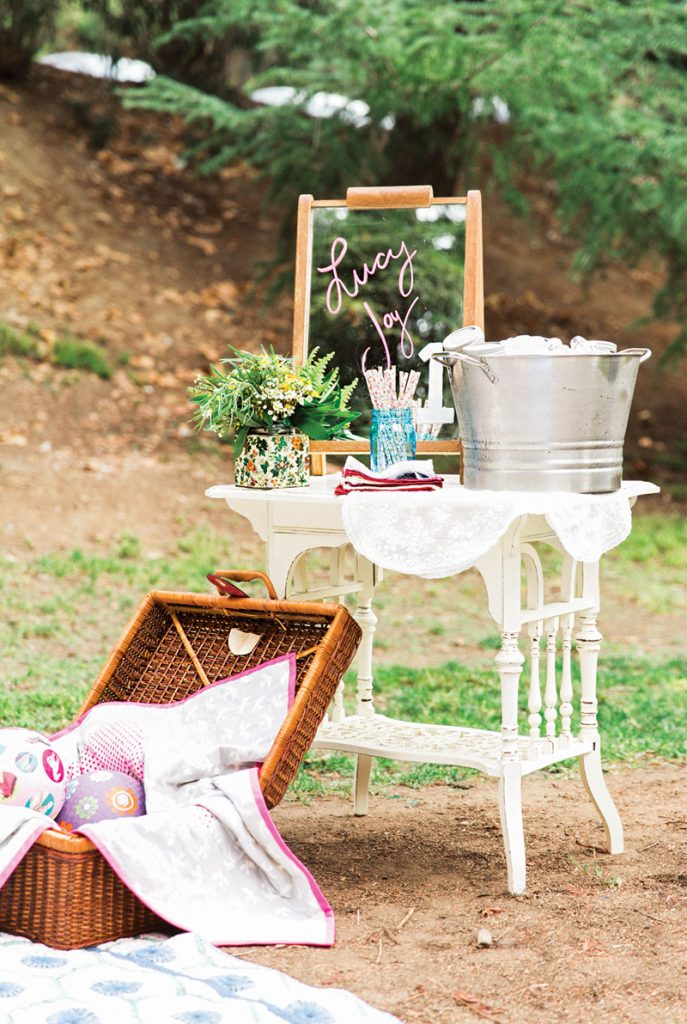 outdoor picnic birthday party setup