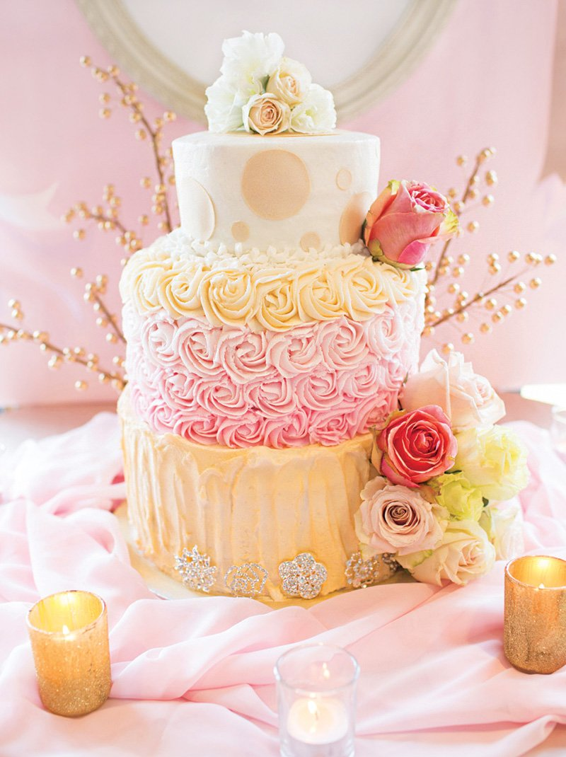pink and white rosette and polka dot wedding cake