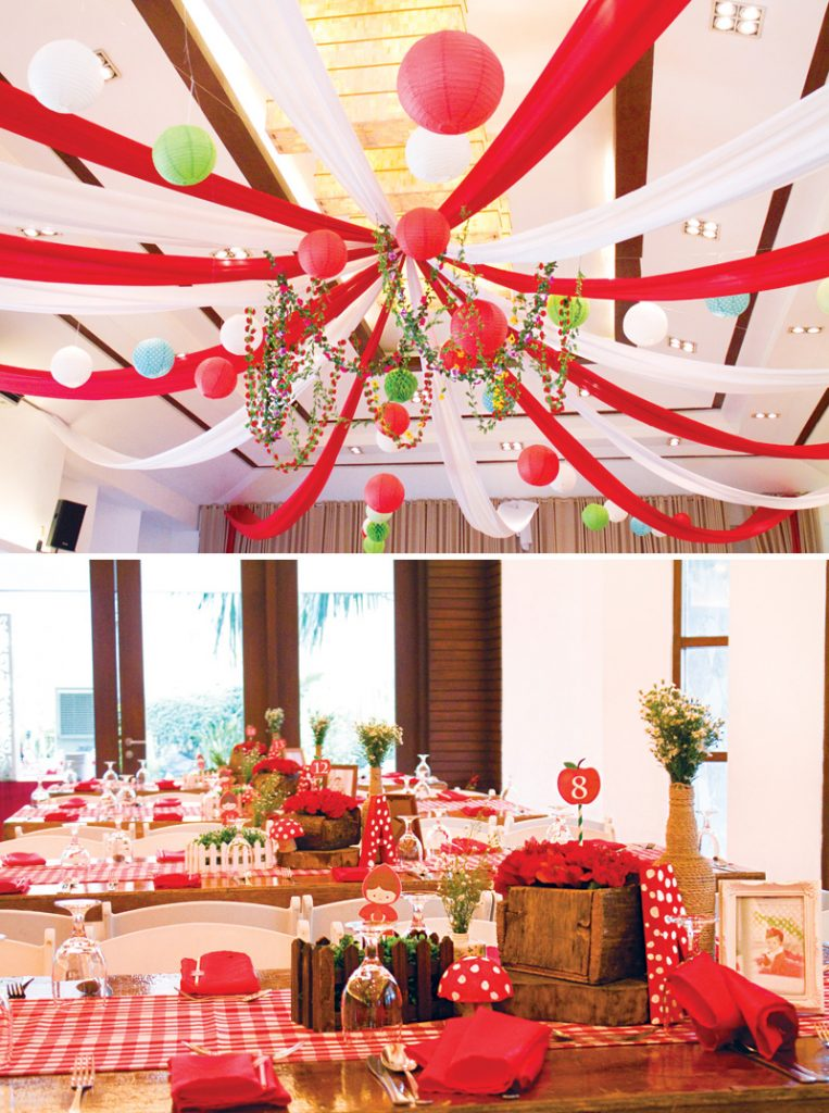 red and white tented ceiling