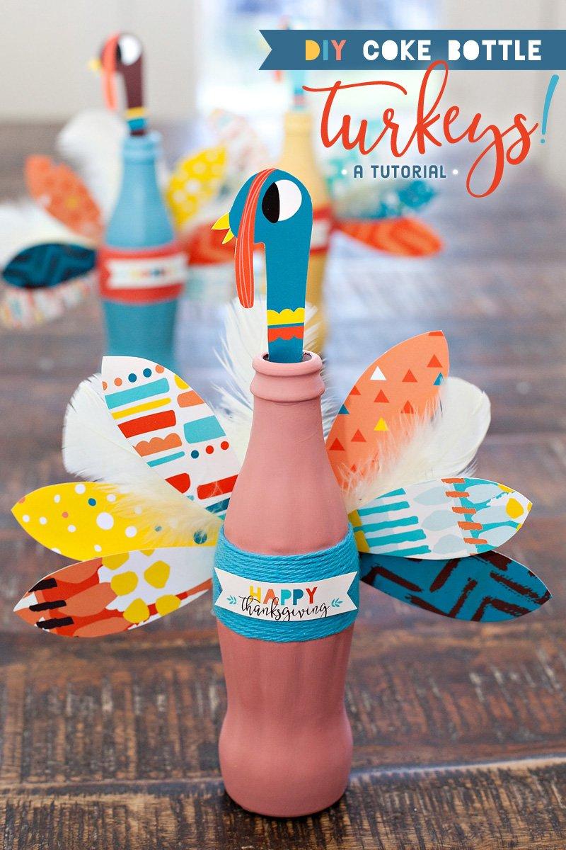 DIY Tutorial - Thanksgiving Coke Bottle Turkeys