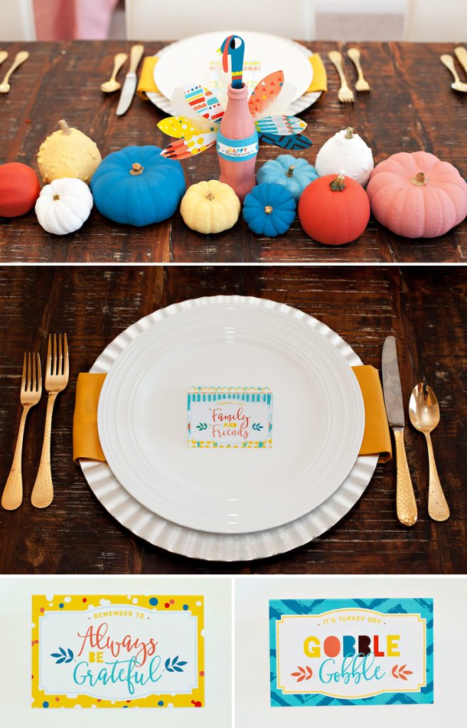 Colorful and Modern Thanksgiving Table Centerpiece Idea