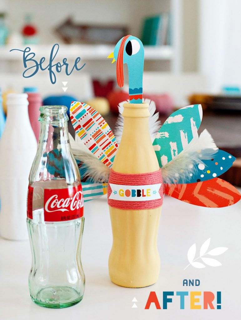 Coke Bottle Turkeys - Before and After View