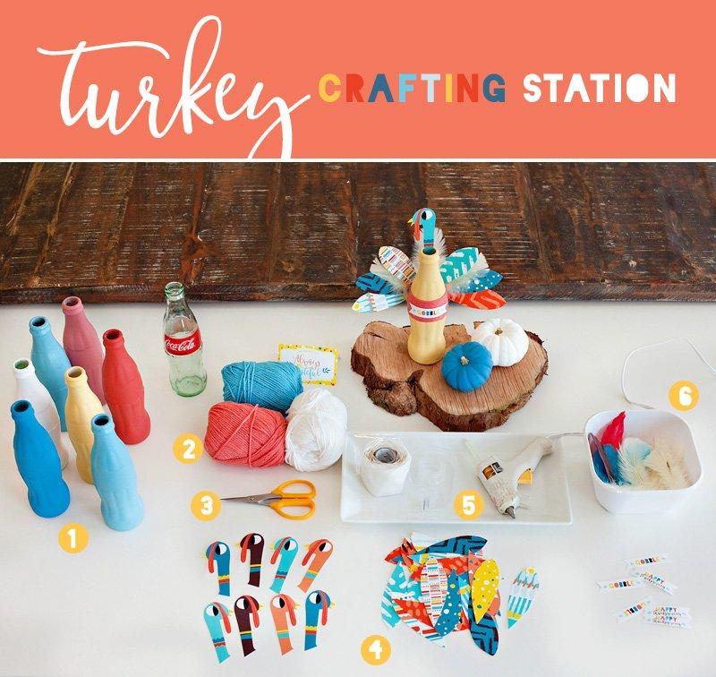 Coke Bottle Turkey Craft Station